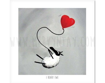 I Heart Ewe - Quirky Square Sheep ART Print