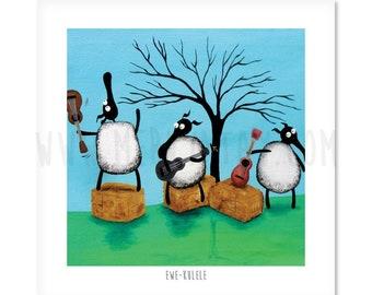 "Ewe-kulele - 8"" x 8"" Quirky Sheep ART Print"