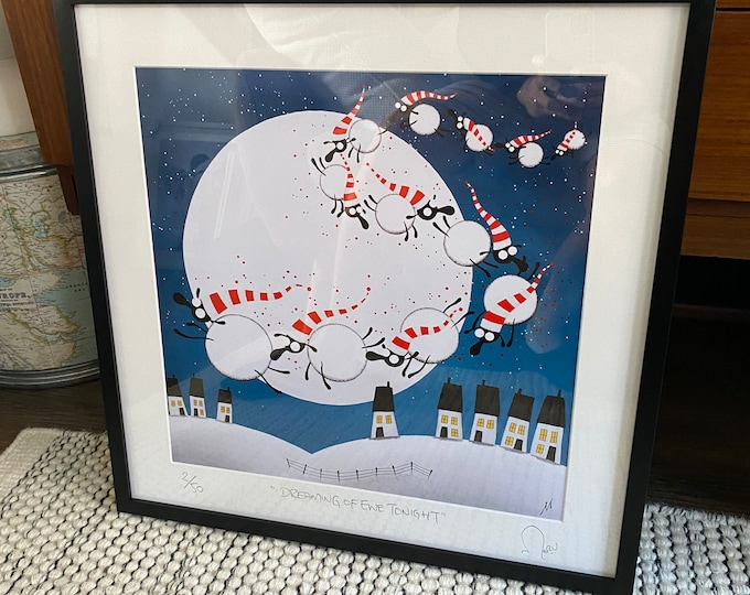 """""""Dreaming Of Ewe Tonight"""" - 20"""" x 20"""" FRAMED Limited Edition Print"""