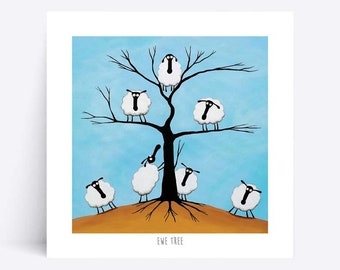Ewe Tree - Quirky Square Print