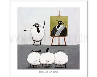 "Leonardo Baa Vinci - 8"" x 8"" Quirky Sheep ART Print"