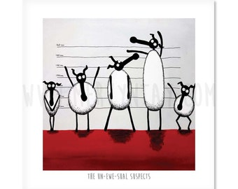 "The Un-ewe-sual Suspects - 8"" x 8"" Quirky Sheep ART Print"