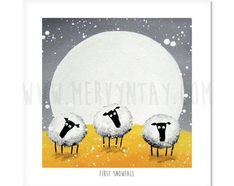 First Snowfall - Quirky Square Sheep ART Print
