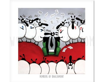 Members Of Baaliament - Quirky Square Sheep ART Print