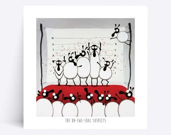 The Un-ewe-sual Suspects - Quirky Square Print