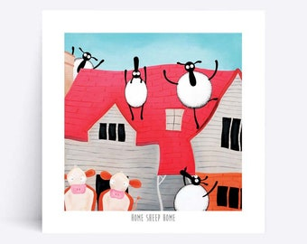 Home Sheep Home - Quirky Square Print