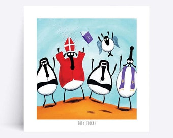 Holy Flock! - Quirky Square Print