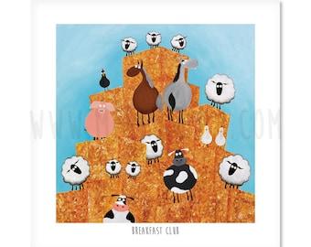 "Breakfast Club - 8"" x 8"" Quirky Sheep ART Print"