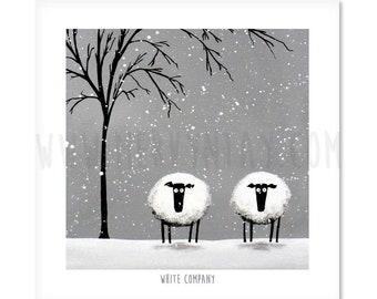 White Company - Quirky Square Sheep ART Print