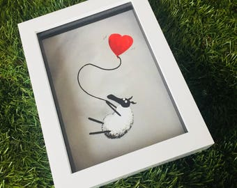 I Heart Ewe - 3D White Box Framed Quirky Sheep ART Print