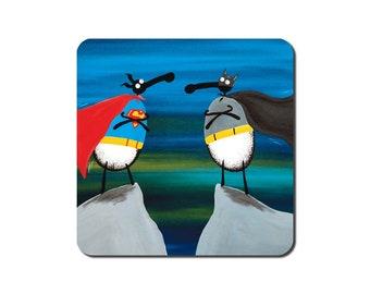 Baa-tman vs S-ewe-perman Coaster - quirky sheep art painting gift