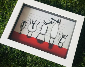 The Un-ewe-sual Suspects - 3D White Box Framed Quirky Sheep ART Print
