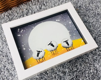 First Snowfall - 3D White Box Framed Quirky Sheep ART Print