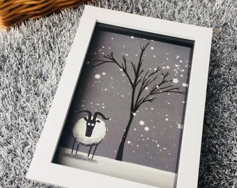 Chill Spot - 3D White Box Framed Quirky Sheep ART Print