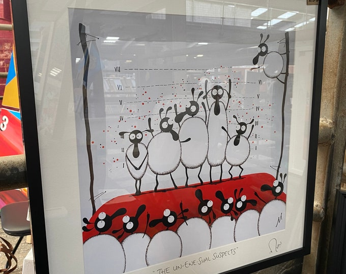 """""""The Un-Ewe-Sual Suspects"""" (20"""" x 20"""" FRAMED Limited Edition Print)"""