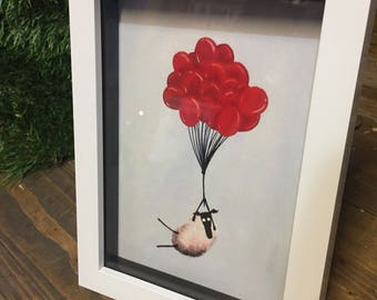 Baallooning - 3D White Box Framed Quirky Sheep ART Print