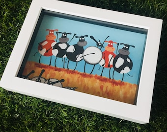 H-ewe Lewis And The Moos - 3D White Box Framed Quirky Sheep ART Print