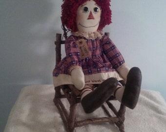 Americana raggedy 22' doll in chair, Americana doll, Raggedy Ann doll, Americana raggedy Ann, Rag doll, primitive raggedy, Americana doll,