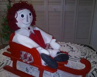 """23"""" raggedy Ann, Christmas doll, Winter raggedy Ann, Raggedy Ann, Rag doll, Holiday decor doll, gift doll"""