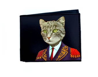 Leather Wallet Gentleman Cat #180