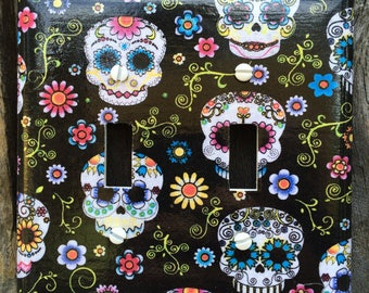Double Switch Plate Cover Sugar Skulls