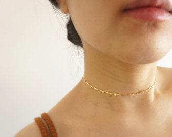 Gold Chain Choker, Gold Choker Necklace, Layering Choker, Gold Filled Chain, Minimalist