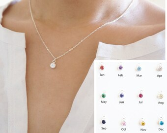 Sterling Silver Birthstone Necklace, Sterling Silver CZ Necklace, Silver Cubic Zirconia Necklace, Silver Birth Stone Necklace,  Gift for Her
