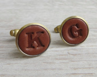 Bronze Embossed Real Leather Cufflinks, Initials, Letters, Personalised, Anniversary, Best Man, Husband, Father, Grandad, Gift Wrapped