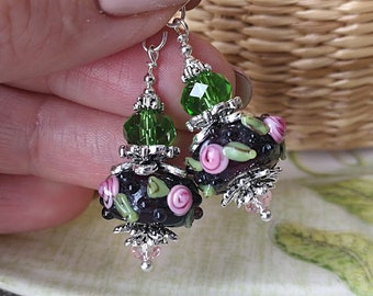 Rose Earrings Flower Earrings Garden Earrings Vintage Style Lampwork Earrings Glass Earrings Bright Earrings Cute Earring