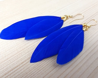 Psychedelic Blue FeatherPsychedelic Blue EarringFeather Blue jewelryfeather blue earringpolymerclay paste
