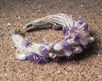Amethyst Linen Braclet Textile Beach Jewelry Eco Bracelet Fiber Bracelet Purple Amethyst Bracelet Nature Bracelet Raw Stone Bracelet