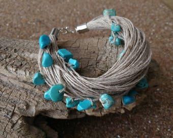 Turquoise Linen Braclet Fiber Bracelet Textile Beach Bracelet Aqua Blue Turquoise Bracelet Nature Bracelet Raw Stone Bracelet Eco Bracelet