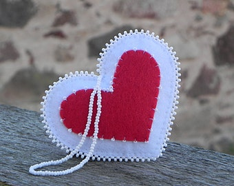 Red White Felt Heart | Christmas Decoration | Rustic Home Decor | Embroidered Ornament | Xmas Tree Ornaments | Heart Holiday Decor |  Heart