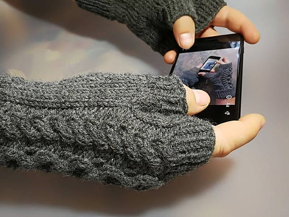 Mens Fingerless Gloves Mens Fingerless Mits Knitted Mens Etsy