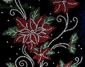 "Rhinestone Iron on Transfer Hot Fix Bling ""Christmas red Poinsettia Flower"""