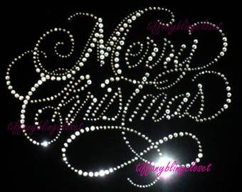 """Rhinestone Iron on Transfer Hot Fix Bling """"merry Christmas Clear colors"""""""