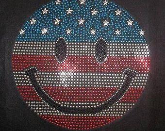 "hotfix rhinestones heat transfer Iron on  ""4th of July Independence day smile """