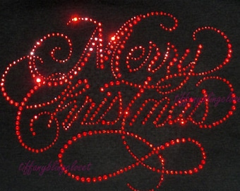 """Rhinestone Iron on Transfer Hot Fix Bling """"merry Christmas red colors"""""""