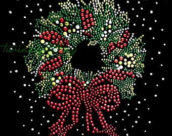 "Rhinestone Iron on Transfer Hot Fix Bling ""small Christmas wreath"""