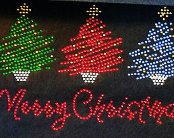 "Rhinestone Iron on Transfer Hot Fix Bling ""merry Christmas 3colors"""