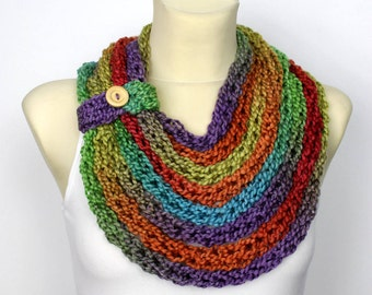 Rainbow Knit Scarf Chunky Infinity Scarf Knit Chain Scarf Bulky Knit Scarf Knit infinity Scarf Knit Loop Scarf Gift for women Mom Gift