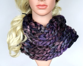 Chunky Knit Scarf Knit Infinity Scarves Chunky Knit Cowl Purple Winter Snood Ultra Violet Scarf Cowl CHA Mother Day from Daughter from Son