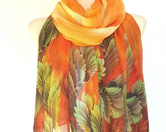 Orange Scarf for Woman Scarves Floral Orange Shawl Spring Scarf Women Scarves Floral Bohemian Scarves Gifts for Mom Gift Mothers Day Gift