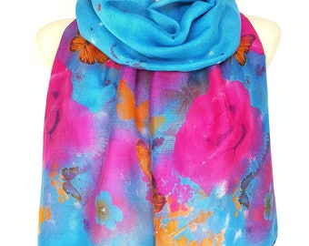 Butterfly Scarf Blue Scarf Autumn Scarf Floral Shawl Women Shawl Christmas Gift for Women Beauty Gift Stocking Stuffer Black Friday Sale