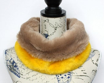 10d1eaa246a Faux Fur Collar for Women Yellow Fur Scarf Women Snood Chunky Cowl Loop  Winter Accessories Unique Gifts Christmas Female Coworker Friend
