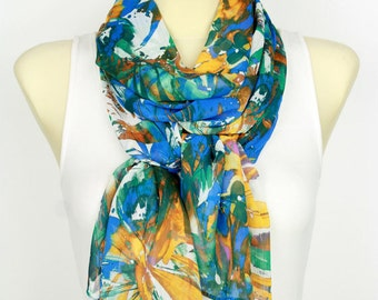 Floral Fashion Scarf Blue Fabric Scarf Women Printed Shawl Personalized Gift Christmas Gift for Women Stocking Stuffer Black Friday Sale