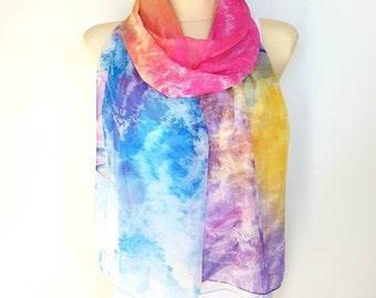 Colorful scarfs for women Lightweight Silk scarf women Large and long silk scarves for women Handmade  scarf wrap 13 Best gifts for her