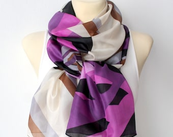 Purple Silk Scarf for Women Ultra Violet Scarf Silk Scarves for Women Scarf Silk Purple and Black Scarf Spring Scarves Gift for Mother