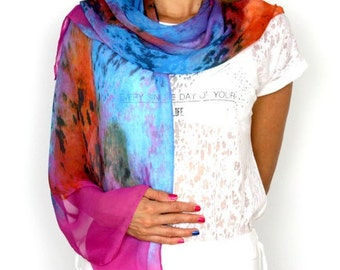 Soft scarfs for women Lightweight Silk scarf women blue Large and long silk scarves for women handmade  scarf wrap Best gifts for her