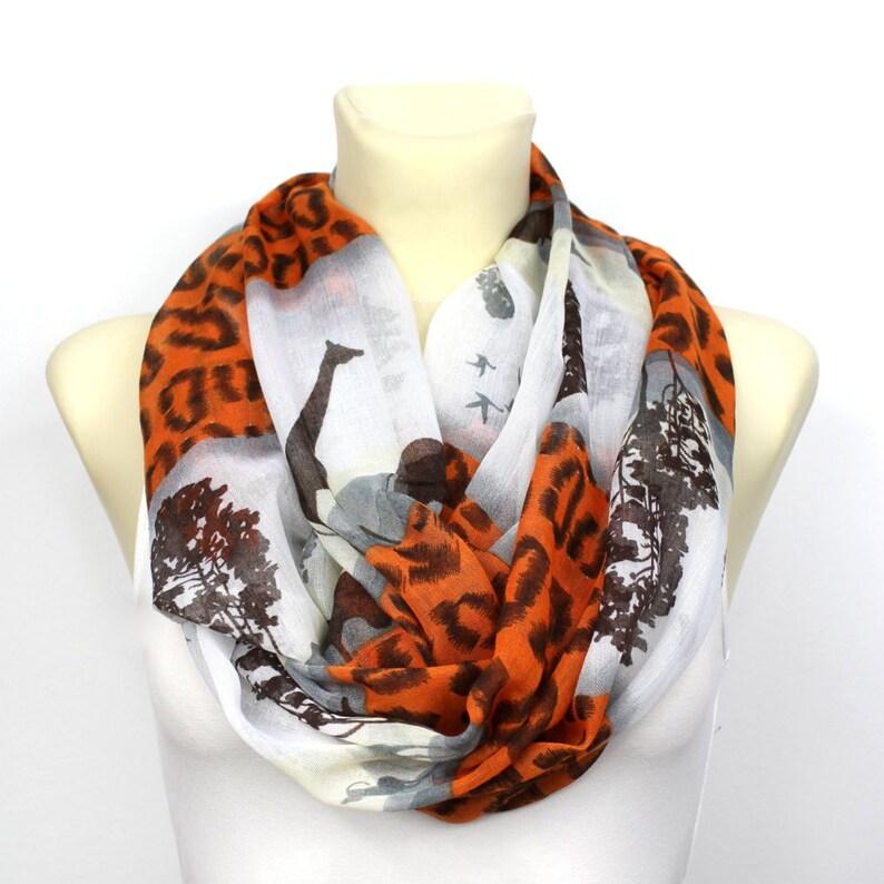 97df4675c6e Burnt Orange Scarf Women Infinity Scarf Giraffe and Leopard Print Scarf  Animal Print Scarves for Women Snood femme Infinity scarf cotton